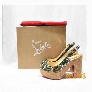 NIB Christian Louboutin Green cork platform sandal
